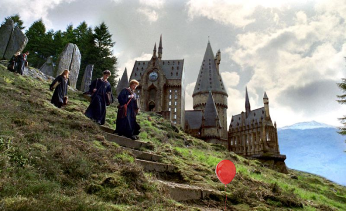 Harry Potter's Hogwarts with a red balloon inspired by It